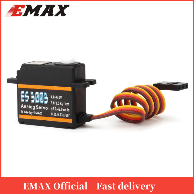 อย่างเป็นทางการEmax Servo ES3003 17G 3.5กก.0.13sec 23Tเกียร์พลาสติกAnalogสำหรับเครื่องบินRC ES3103อัพเกรด