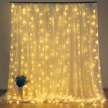 2x 2/3x3 led icicle led cortina de fadas luz da corda luz de fadas led guirlanda de luz de natal para o casamento casa janela festa decoração