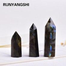 4-7cm 1 pçs pedra preciosa ornamento polido colorido natural pedra da lua labradorite cristal ponto varinha ornamental