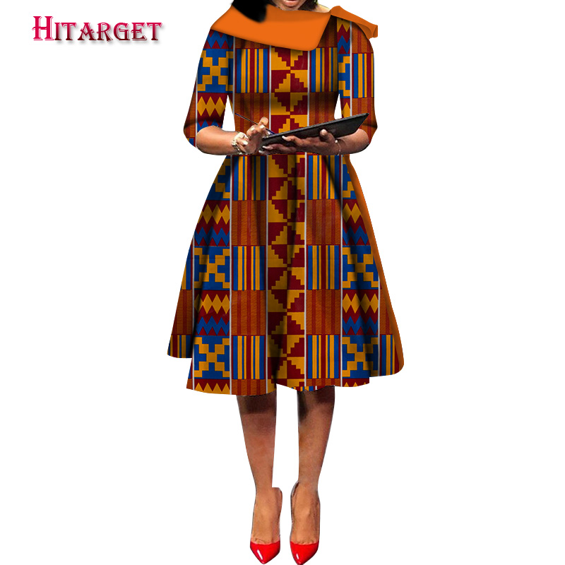 Hitarget 2019 New Ankara Wax Print African Dresses For Women Ankara Dresses Party Dress Dashiki Africa Women Clothing WY5232