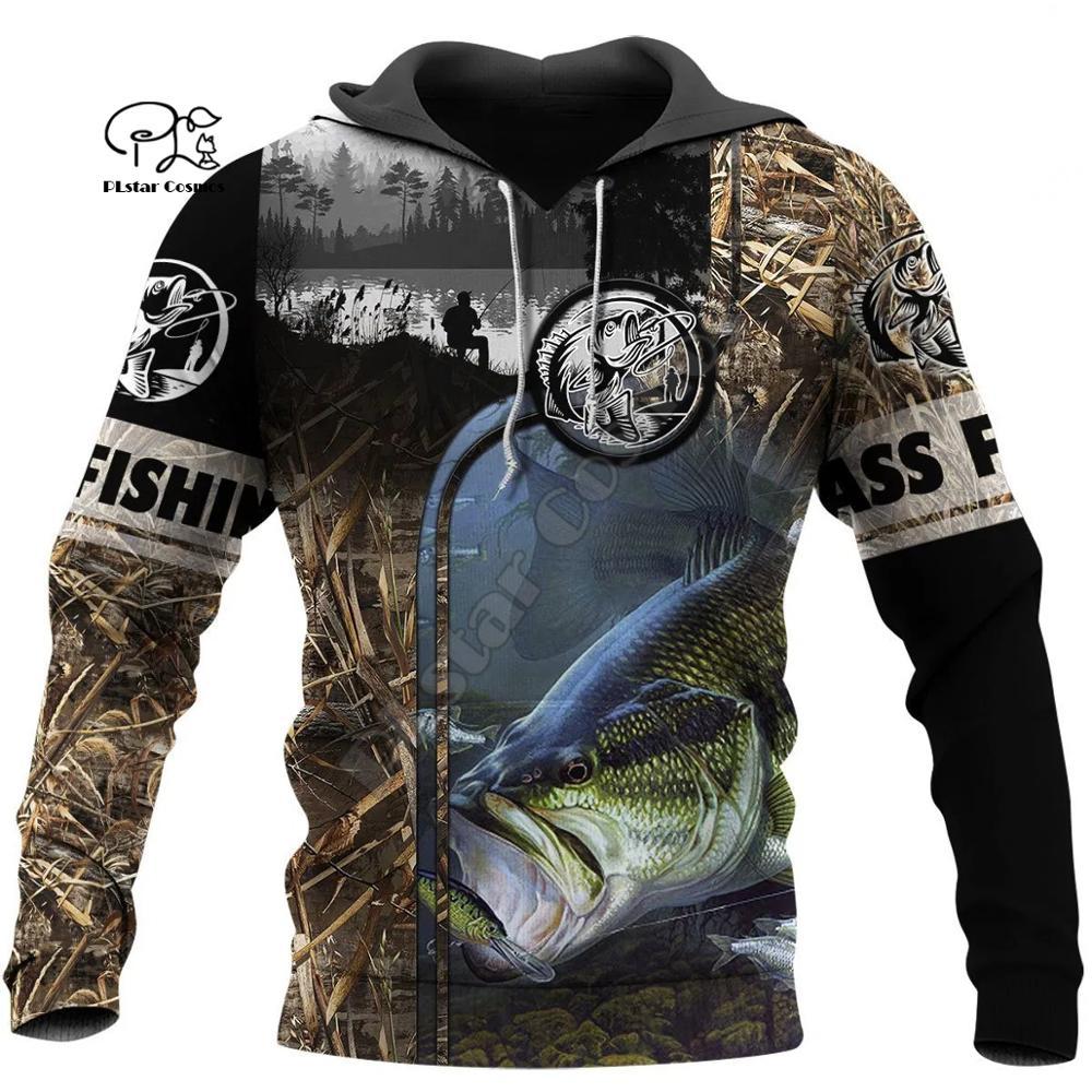 PLstar Cosmos Animal Bass Carp Fishing NewFashion Fisher Tracksuit Pullover 3Dprint Unisex Zipper/Hoodies/Sweatshirts/Jacket S13