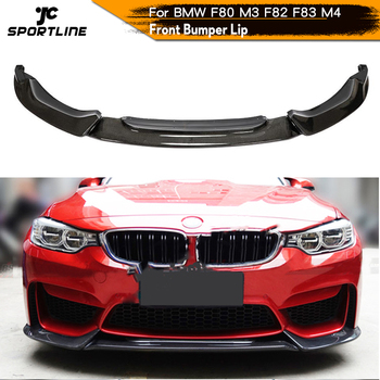 Carbon Fiber Front Bumper Lip Splitters Spoiler for BMW F80 M3 F82 F83 M4 Sedan Coupe Convertible 2014 - 2019 Front Splitters carbon fiber rear trunk wings m4 spoiler for bmw 4 series f36 420i 428i 435i gran coupe 4 door 2013 gloss black spoiler wing