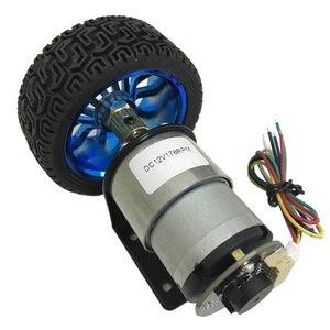 Image 2 - Moteur dencodeur à courant continu, couple élevé 6/12V, haute vitesse 7 à 1590 tr/min, moteur à courant continu, vitesse réversible réglable avec jeu de roues