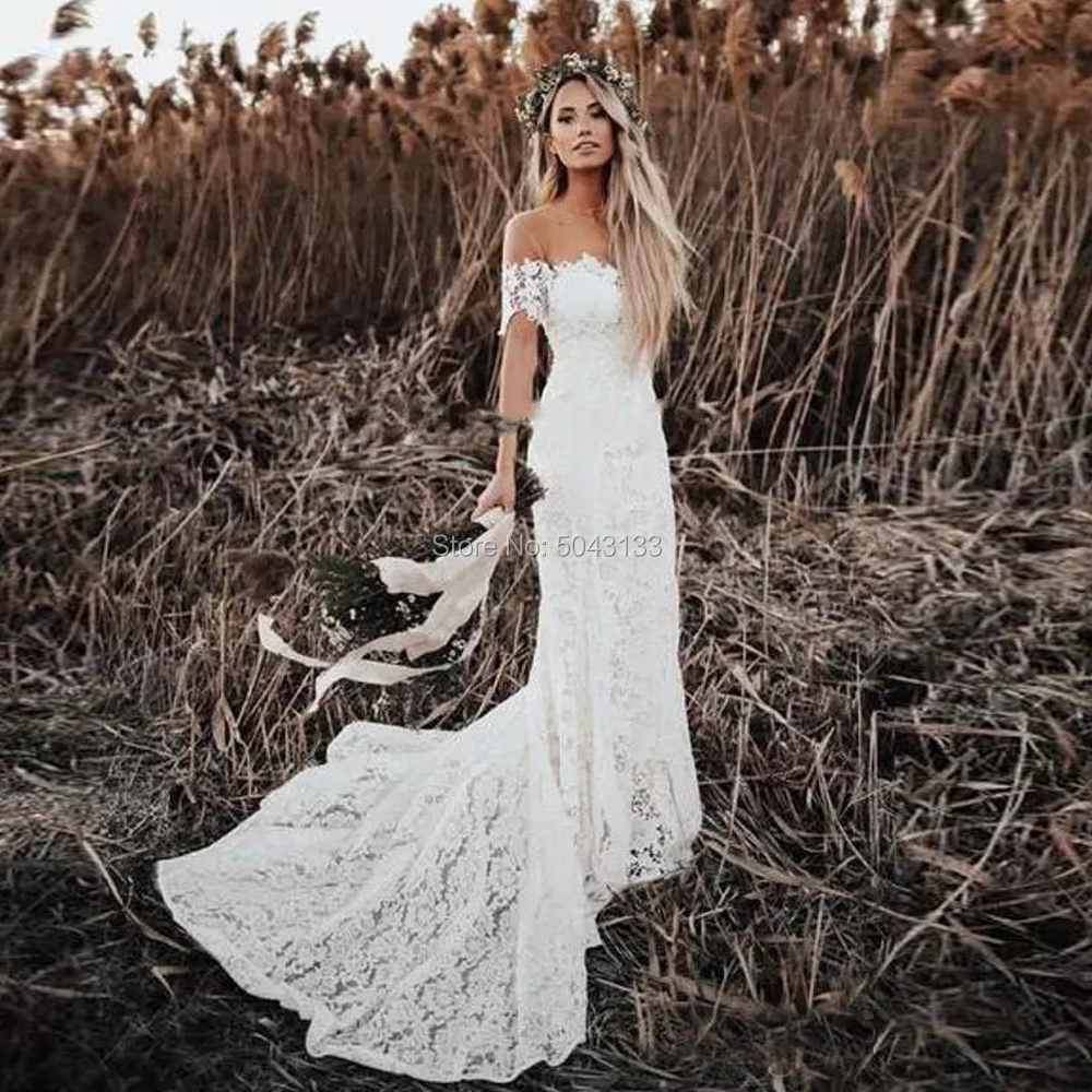 Elegant Boho Lace Wedding Dresses 2020 Country Style Off The Shoulder Short Sleeves Bridal Dress Beach Wedding Gowns Sweep Train