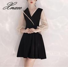 Xnxee Black dress female 2019 new banquet temperament short ladies Vestido de novia XS-3XL