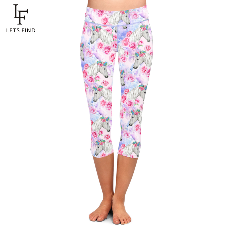 LETSFIND New Beautiful Unicorns and Flowers Print Capri Legging High Waist Plus Size Mid-Calf 3/4 Stretch Soft Women Leggings