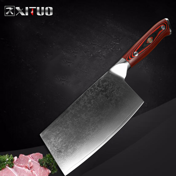 XITUO Damascus Steel Chef Knife Professional Sharp Cleaver Fish Vegetable Knife Home Restaurant Kitchen Cooking Tool G10 Handle