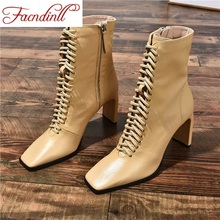 FACNDINLL sexy thick high heels shoes woman female square toe martin boots high qulaity new autumn winter women shoes ankle boots black blue apricot high heels riding boots size 34-39 spring dress party office shoes цены онлайн