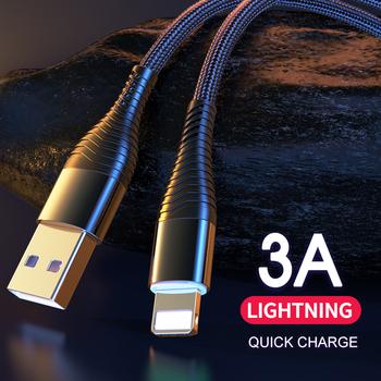 Kabel USB do iPhone 12 11 Pro kabel USB ładowarka do iphone #8217 a kabel do ładowania nylonowy warkocz szybka ładowarka kabel błyskawiczny tanie i dobre opinie ROCK LIGHTNING CN (pochodzenie) USB A Złącze ze stopu Metal Alloy Nylon Braid Cable for iPhone 12 11 Pro X XS MAX 8 7 6 5 5s SE cable