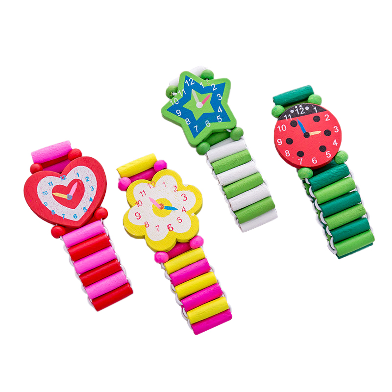 Boys Girls Wooden Watch Cute Student Handwear Clock Children Fashion Watches Cartoon Stationery Presents Crafts Toys S