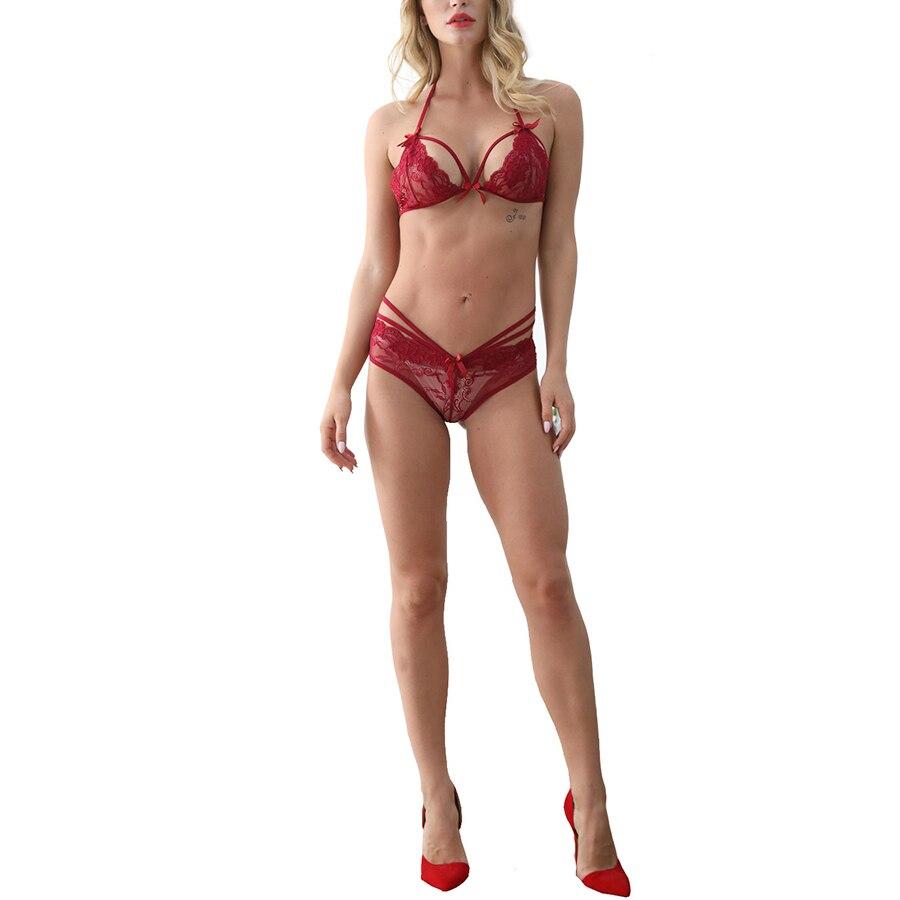 Sexy Lingerie For Women Erotic Bra Set Lace Transparent Underwear Exotic Apparel Bikini Porno Sleepwear Intimate Bow Babydolls
