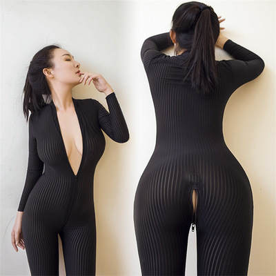 Ha4b6b773f8884069b071adbd74429dbbJ - XS-8XL Women Black Striped Sheer Bodysuit Smooth Fiber 2 Zipper Long Sleeve Jumpsuit