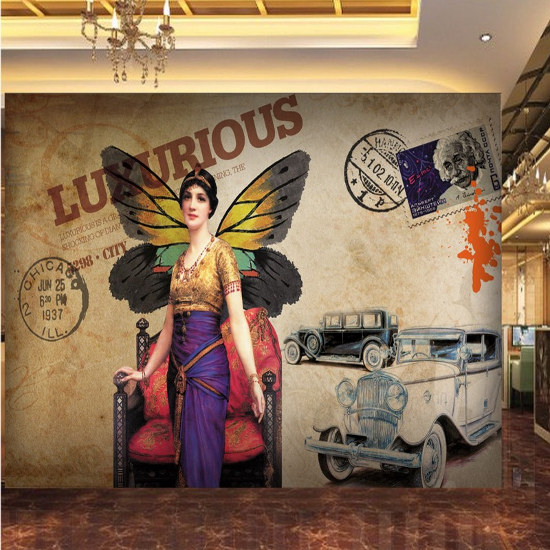 Dropship 3D Photo Wallpaper Nostalgic Female Throne Butterfly Car European American Oil Painting Background Wall Wallpaper Mural