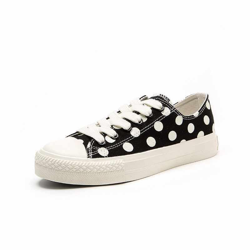 Verão estudante meninas polka dot impresso bonito lona sapatos das mulheres apartamentos tênis casuais rendas até harajuku streetwear rendas até sapatos