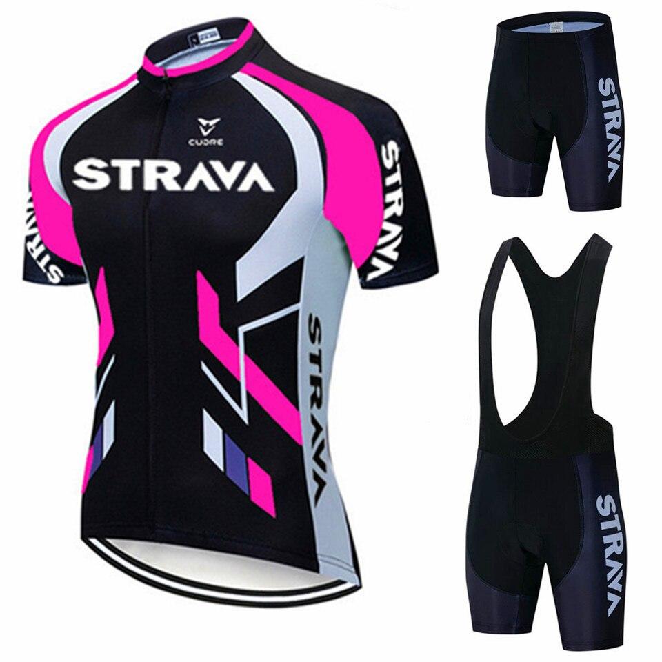 2020 Team STRAVA Radfahren Trikots Fahrrad kleidung Tragen Quick-Dry bib gel Sets Kleidung Ropa Ciclismo uniformes Maillot Sport tragen
