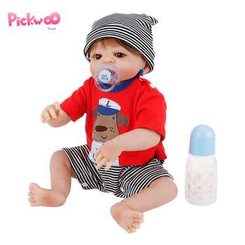 "Pickwoo 19"" 48cm Soft full Silicone Reborn Baby Doll Girl Toy Lifelike Babies Boneca Full Vinyl Fashion Doll Bebes Reborn Menina"
