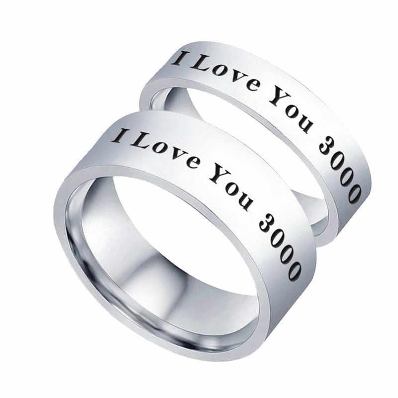 Iron Man Aku Cinta Anda 3000 Kali Jari Cincin untuk Wanita Stainless Steel Fashion Riings Perhiasan Hadiah Hari Ayah