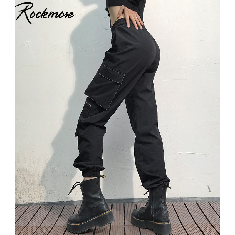 Rockmore Gothic Panelled Women Cargo Pants With Pockets Wide Leg Joggers Hip Hop Dance Pants Femme Black High Waisted Trousers