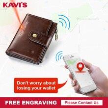KAVIS rfid inteligentny portfel z prawdziwej skóry z alarmem GPS mapa Bluetooth czarnych mężczyzn torebka wysokiej jakościowy projekt portfele darmowe grawerowanie