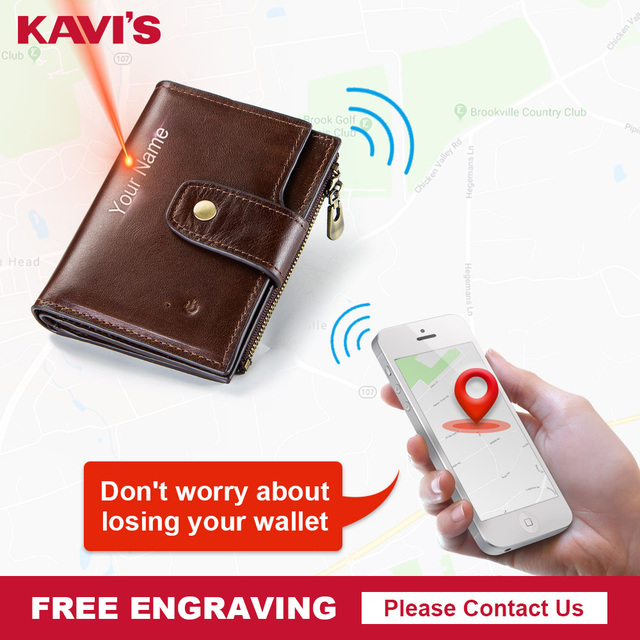 Kavis rfidスマート財布本革アラームgpsマップbluetooth黒人男性財布高品質デザイン財布送料彫刻