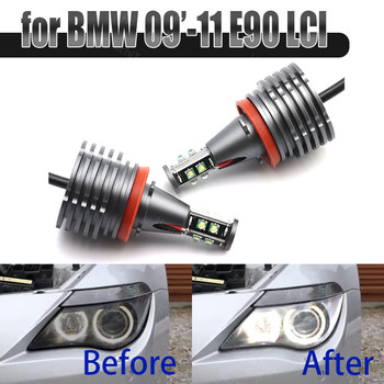 6000K White 160W 8 LED 3000LM Car Angel Eye Marker Headlights Bulbs Lamps for BMW 2009-2011 3 Series E90 Sedan (LCI) image