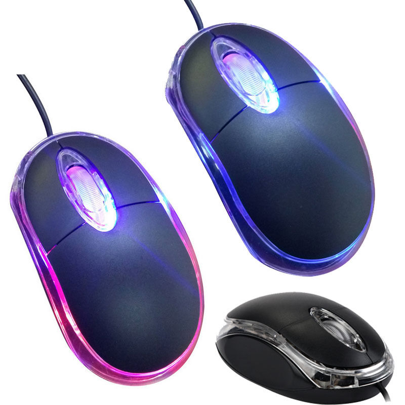 Mini Mouse Wired USB 1200DPI 3 Buttons Optical Gaming Optical Mouse LED Backlight For PC Computer Laptop Office Home Use
