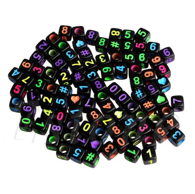 100 шт diy случайный Алфавит/буквы акриловые кубические бусины
