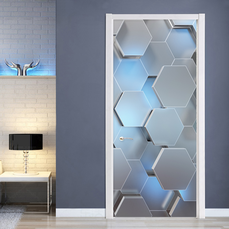 Modern 3D Stereo Geometric Door Mural PVC Self-Adhesive Waterproof Wall Sticker Living Room Creative Decor Door Stickers Poster