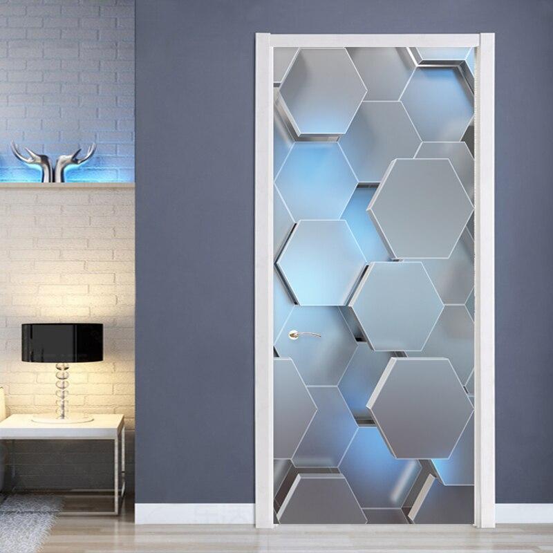 Moderne 3D Stereo Geometrische Deur Muurschildering PVC Zelfklevende Waterdichte Muursticker Woonkamer Creatieve Decor Deur Stickers Poster