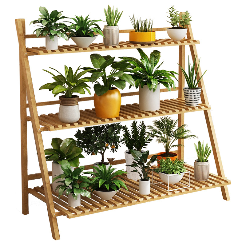 Solid Wood Landing Type Indoor Botany Fold Multi-storey Balcony A Living Room Meaty Flowerpot Shelf Province Space
