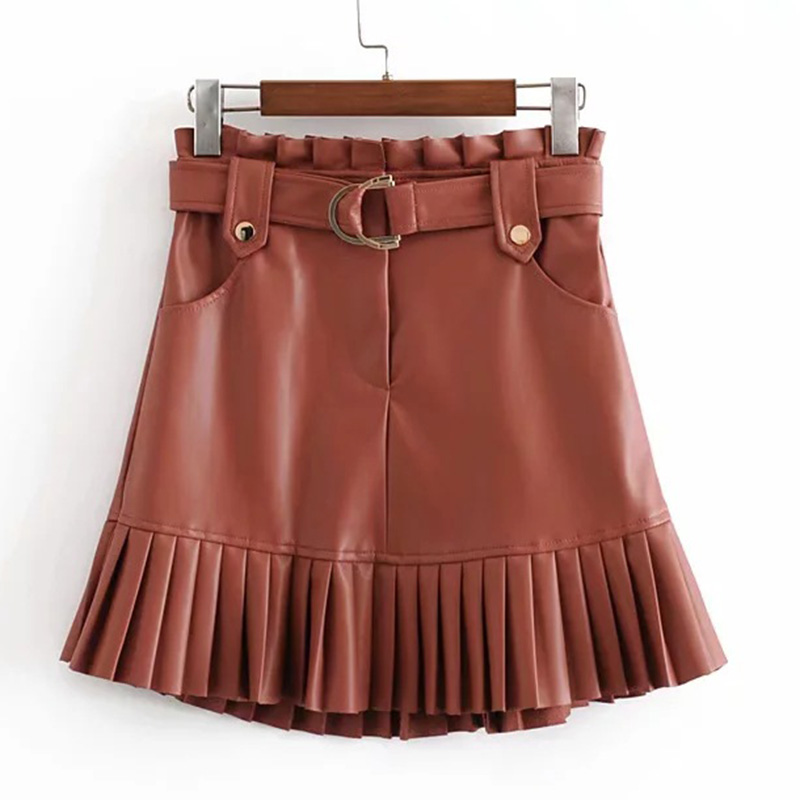 BONJEAN Women's PU Leather Pleated Skirt With Belt Za Fashion High Waist Slim Winter Skirts Women Female Falda