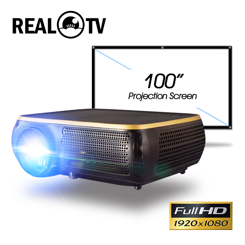 Real TV M8S Full HD 1080P Projector 4K 6500 Lumens Cinema Proyector Beamer Android WiFi Bluetooth hdmi VGA AV USB title=