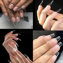 Gel X Tips Nail Extension System Full Cover Pre-shaped Sculpted Long Coffin Stiletto False Tip Bag of 240