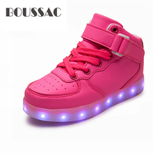 BOUSSAC Basket Led Children Shoes With Light Up Kids Casual shoes Boys Girls Sneakers Glowing enfant USB Charging