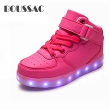 BOUSSAC Basket Led Children Shoes With Light Up Kids Casual shoes Boys Girls Sneakers Glowing Shoes enfant USB Charging цена в Москве и Питере