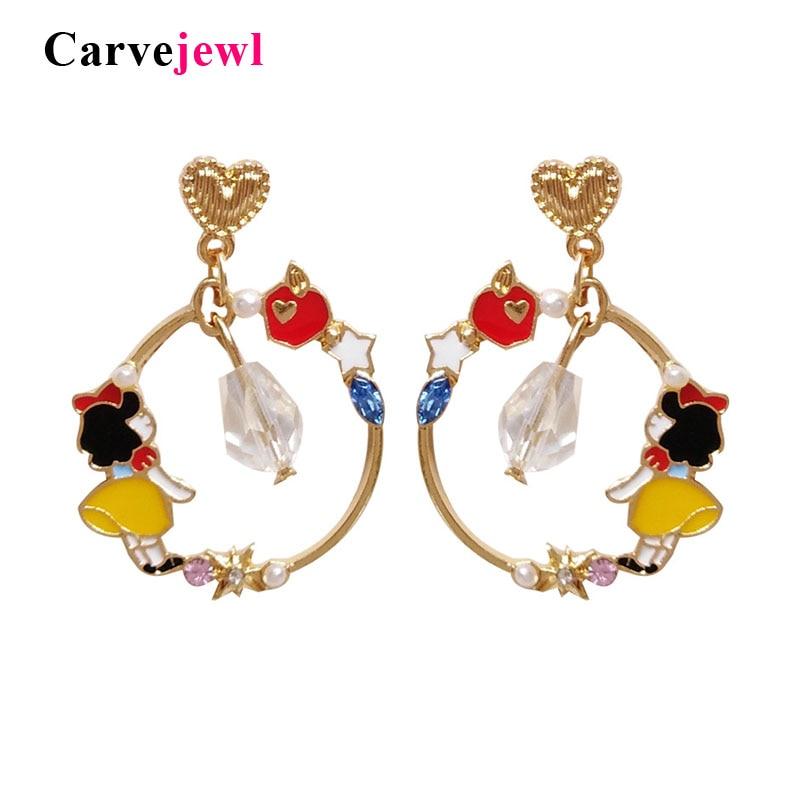 Carvejewl Lovely Fairy Tales Cartoon Snow White Drop Earrings For Women Girls Party Jewelry Ne Round Garden Enamel Glaze Earring