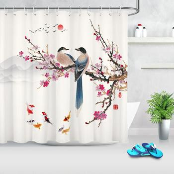 Chinese Landscape Painting Shower Curtains Fish Bird Plum Tree Branch Shower Curtain Polyester Cloth Fabric Bathroom Decoration джемпер plum tree plum tree pl010ewhhgo8