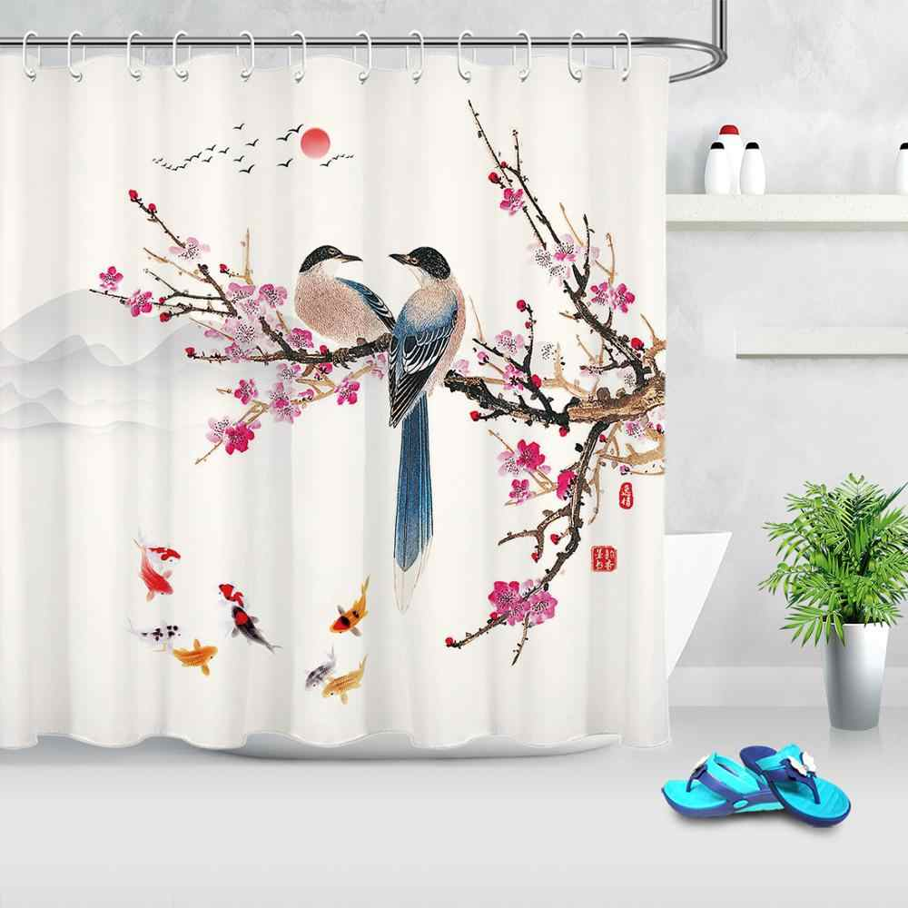 chinese landscape painting shower curtains fish bird plum tree branch shower curtain polyester cloth fabric bathroom decoration