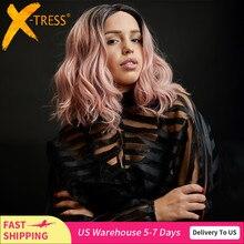 X TRESS Ombre ורוד טבעי גל סינטטי תחרה מול פאות עבור נשים שחור בלונד כתף אורך בוב תחרת פאה חום עמיד