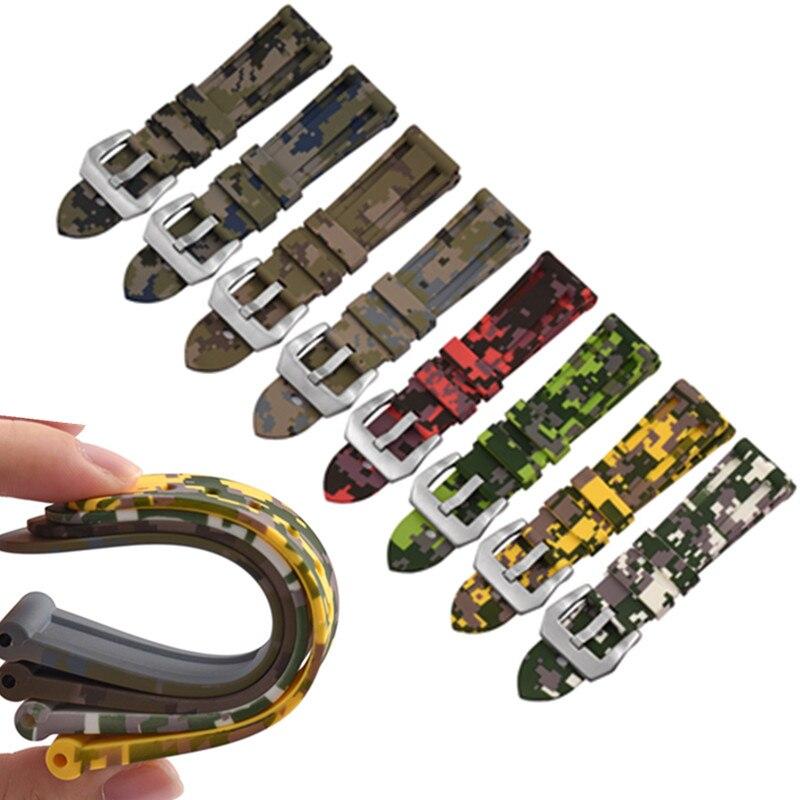 Digital Camo Sports Style Rubber Strap 20MM 22MM 24MM26MM Watch Band Strap Dustproof Waterproof Watchbands For Pam Watch Strap