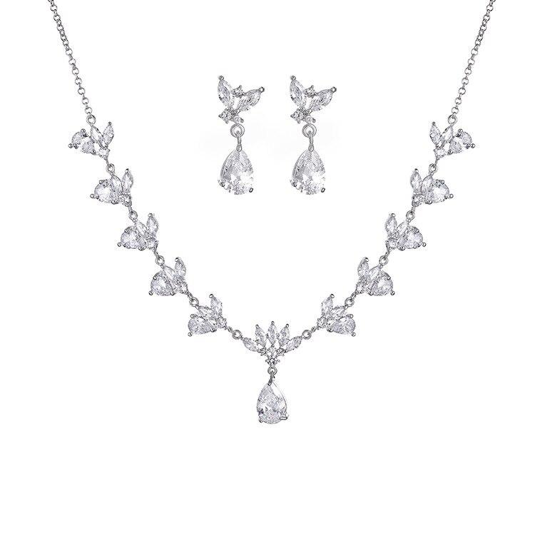 Ensembles de bijoux de dames de mariage de mode de goutte d'eau pour les femmes plein Pave cristal Zircon boucles d'oreilles colliers ensemble bijoux - 5