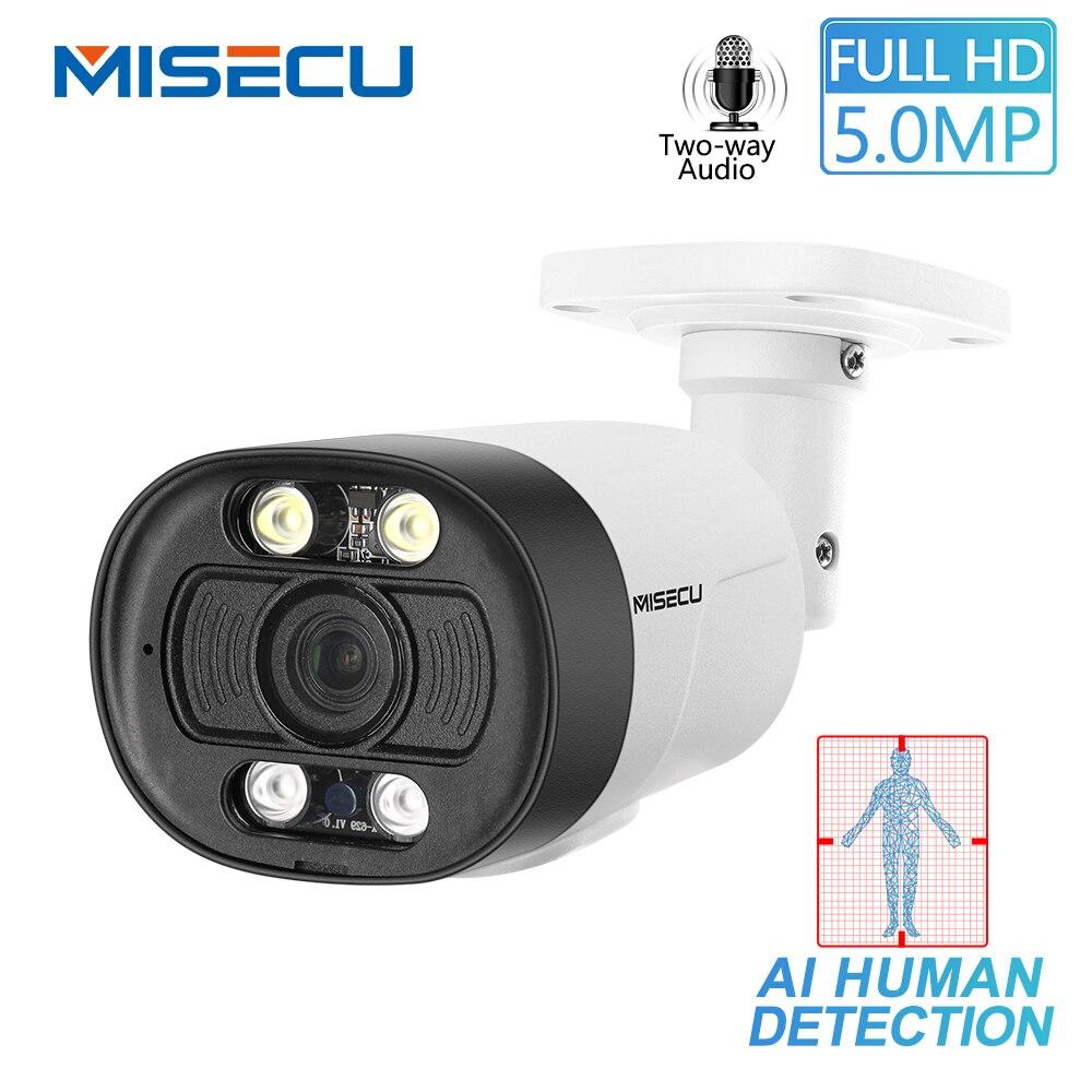 MISECU H.265 Super HD 5MP sécurité Audio bidirectionnelle POE caméra IP détection humaine extérieure étanche caméra AI ONVIF pour POE NVR