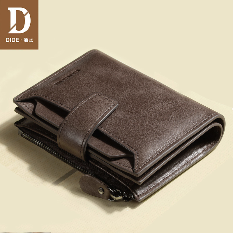 DIDE Men's Purses Genuine Leather Wallets Male Brand Vintage Mini/Small Zipper Coin Short Wallet Card Holder Fine Gift Box