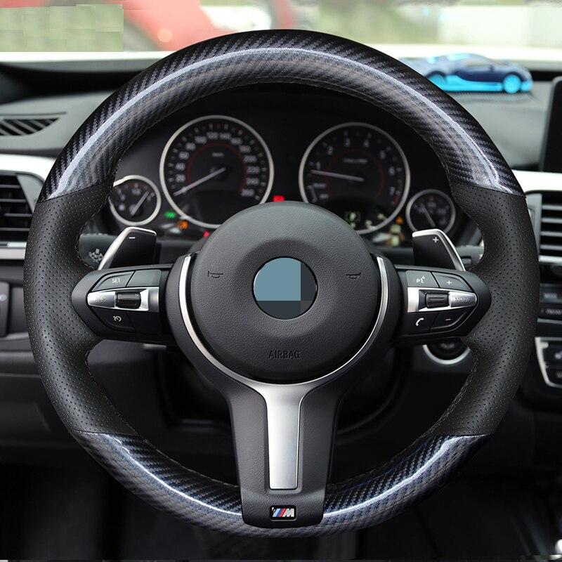 En Cuir De Fiber De carbone Noir En Cuir Couverture De Volant de Voiture pour BMW F87 M2 F80 M3 F82 M4 M5 F12 F13 M6 X5 M F86 X6 M F33