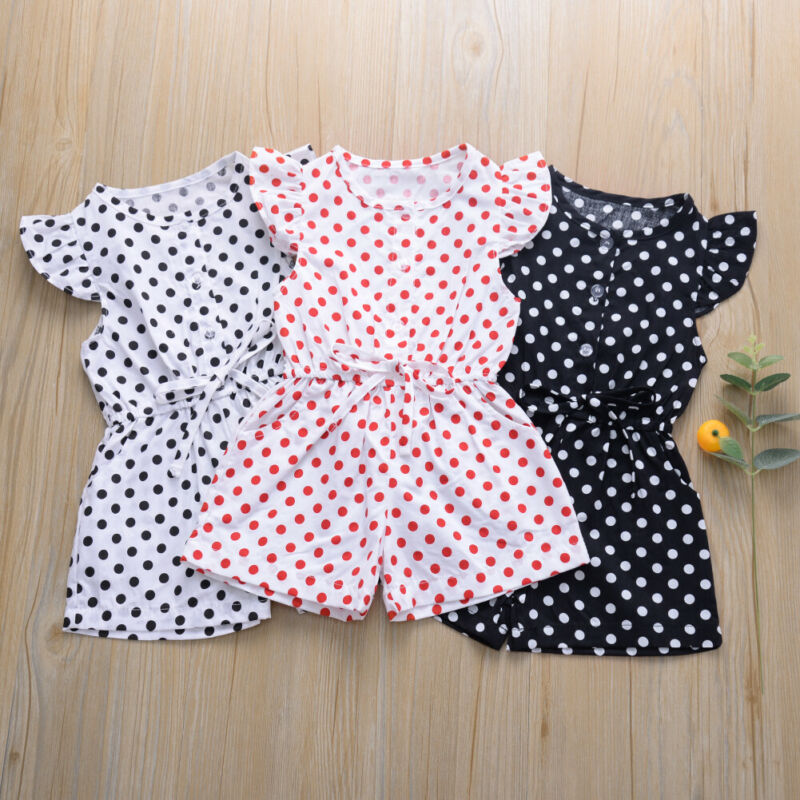 Infant Baby Girl Clothes Polka Dot Fly Sleeve Romper Jumpsuit Outfit Summer Drawstring Bowknot Cotton Soft Sweet Playsuit