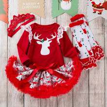 2019 Toddler Baby Christmas Clothes Kids Girls Thanks Giving Day Romper Tops Tutu Dress Hairband 3Pcs Baby Girl Set ropa niña(China)