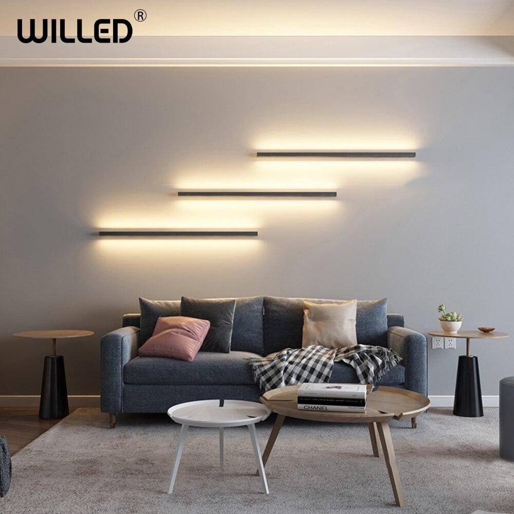 Nordique minimaliste longue bande applique applique murale moderne LED luminaire chambre chevet salon Wandlamp escaliers applique murale