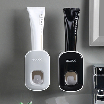 Squeezer Dispenser Bathroom Toothbrush Holder Tool  Wall Mount Automatic Toothpaste Set - discount item  37% OFF Household Merchandises