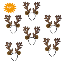 6 pcs/Lot Christmas Headband Big Gold Antlers Mouse Ears Hair Accessories christmas headband Headwear for Xmas Gift