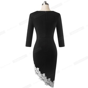 Image 2 - Nice forever Elegant White Lace Patchwork Office unsymmetrical vestidos Business Party Winter Bodycon Women Dress B561